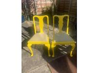 2 vintage painted chairs need up cycling