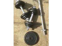 York dumbells and weights set.