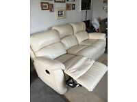 3 seater beige leather sofa- 2 reclining seats