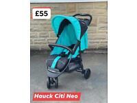 Unused Hauck citi Neo pram pushchair buggy in aqua blue birth to 25 kg