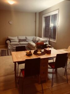 Dining table, gateleg + 4 chairs