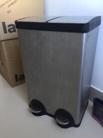 John Lewis 2 section rubbish/recycling bin - stainless steel