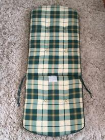 Patio Chair Pads in Green and Cream Check