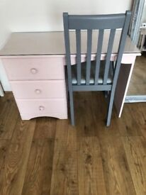 Pink painted desk dressing table and chair