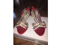 BRAND NEW red INDIAN high heel sandal size 6