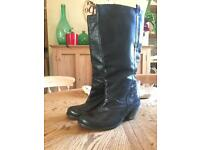 Fat Face Black Leather Boots Size 4/37