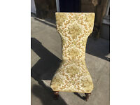 Bedroom Chair - Good quality and condition . A Prie-Dieu chair on brass castor wheels .