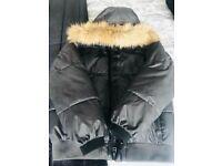 Zara Grey boys down coat with detachable fur hood /collar