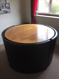 Circular dining table and chairs