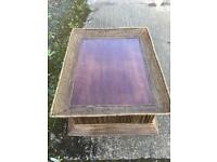 Large wooden / cane coffee table