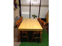 Folding table and 4 pine chairs