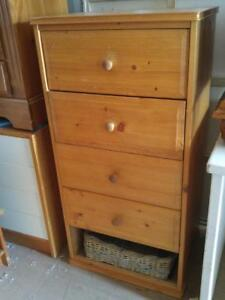 "Oakville DRESSER 22""x17""x45""h Solid Wooden With Basket CHEST OF DRAWERS Light Wood Pine Tall High Boy Clothing Storage"