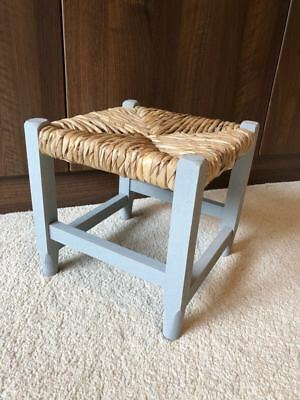 Vintage Wicker Rattan Footstool Retro Shabby Chic Wooden Grey Children's Seat