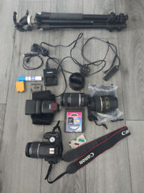 CANON DIGITAL SLR CAMERA, MACRO LENS, TRIPOD AND OTHER ITEMS