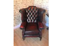 Chesterfield Wingback Chair Oxblood Red