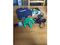 Nintendo 64 game console with Zelda orcarina of time game