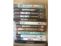 12 PS3 Games : call of duty GTA 5 Sniper 2 FIFA 14 PES 14 battlefield 3 little big planet
