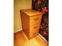 3 Drawer MFC Desk Pedestal, Lockable, A4 / Folder Storage in a good working condition.