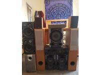 sony, yamaha, grundig and jvc speakers with an amp and 2 subwoofers