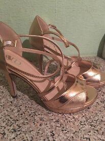 """Rose gold 4"""" heel sandals"""