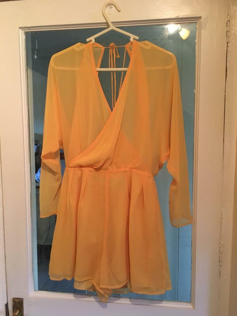 Miss selfridge yellow party playsuit shorts size 10