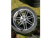 "Audi rs wheels 17"" grey x4 good tyres"