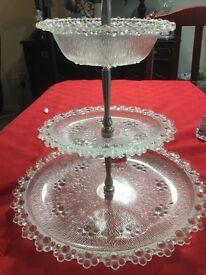 Cake stand glass 3 tier