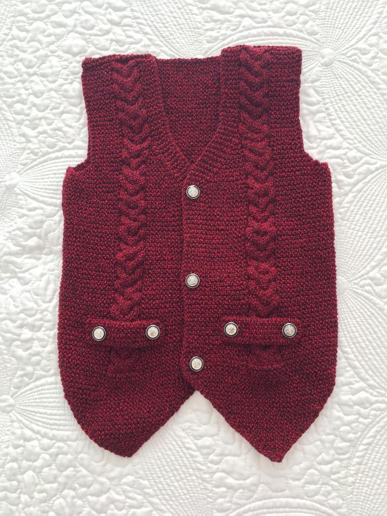 Handmade crotchet baby waistcoat in burgundy/deep red