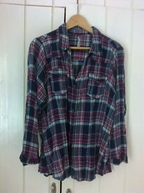 SOLD Evans navy check cheesecloth blouse. Size 24