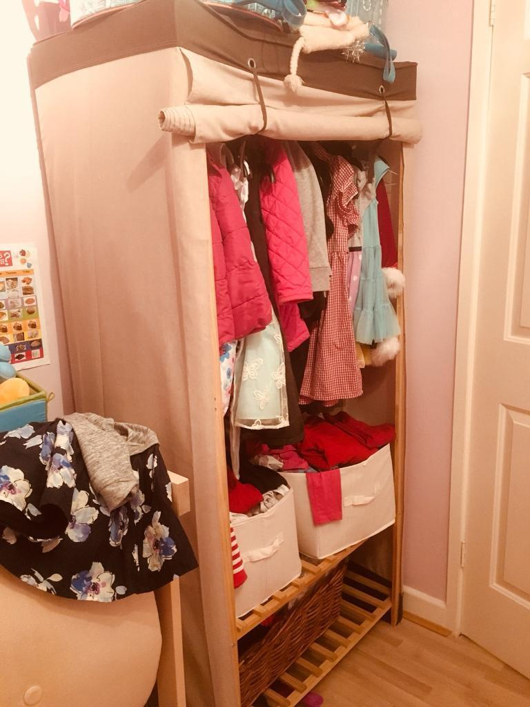 Canvas & wood wardrobe (for free collection only, London SE16)