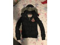 Paul's boutique black coat and body warmer / gillet and red body warmer size M & L 10 12 14