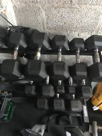 York hex rubber dumbbells and srand