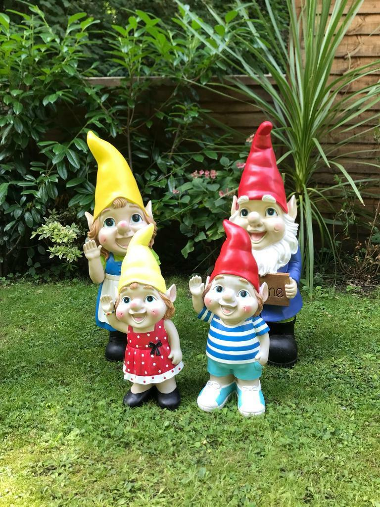 Gnome In Garden: Family Of Large Garden Gnomes