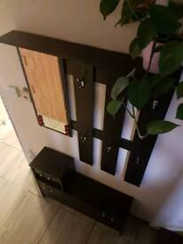 Hall entrance coat hanger shoe holder mirror drawers and shelf