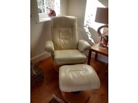 Cream Leather Swivel Armchair and footstool