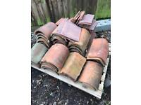 50p PER TILE OR JOB LOT! SELECTION OF RECLAIMED HANDMADE CLAY RIDGE TILES! HALF ROUND/ANGULAR