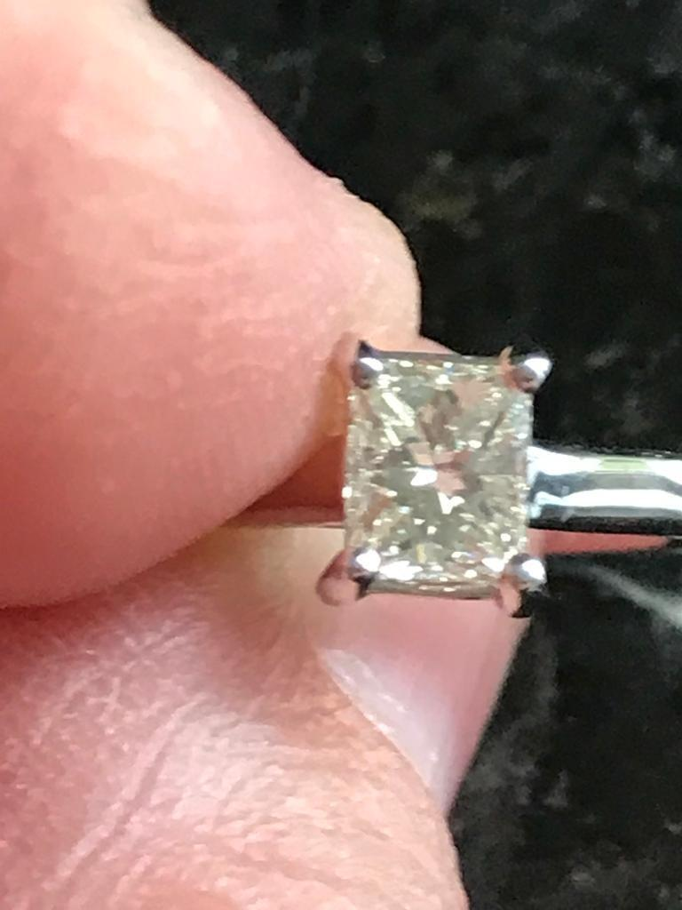 rare Radiant cut diamond 18k white gold ring Valued approx £2k | in ...