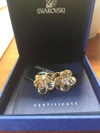 Swarovski flower design clip on earings