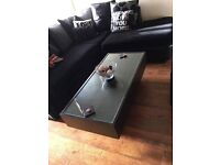 Glass coffee table with draws
