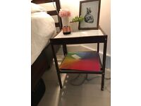 Scandinavian-styled walnut bedside table (two available)