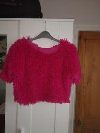 Girls Pink, fluffy crop top jumper