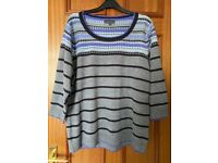 MARKS AND SPENCER PER UNA GREY/LILAC JUMPER SIZE 20