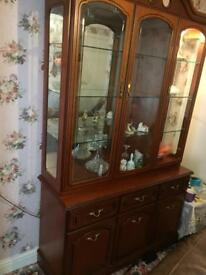 3 door sideboard with glass cabinet
