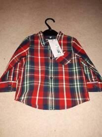 BNWT M&S boys check shirt 12-18m