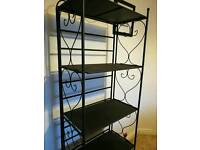 Wrought iron style black bookcase shelves