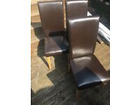6 x faux leather brown dinning chairs