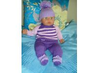 NEW HAND KNIT CLOTHES TO FIT BABY ANNABELL OR BABY BORN NICE GIFT