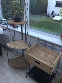 Tall Wicker stand and table
