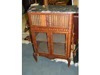 French Library bookcase with marble top(marble top damage clean-break)