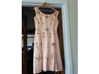 Chantelle Vintage satin and sequin dress in pale pink size 10/12 circa 1950/60